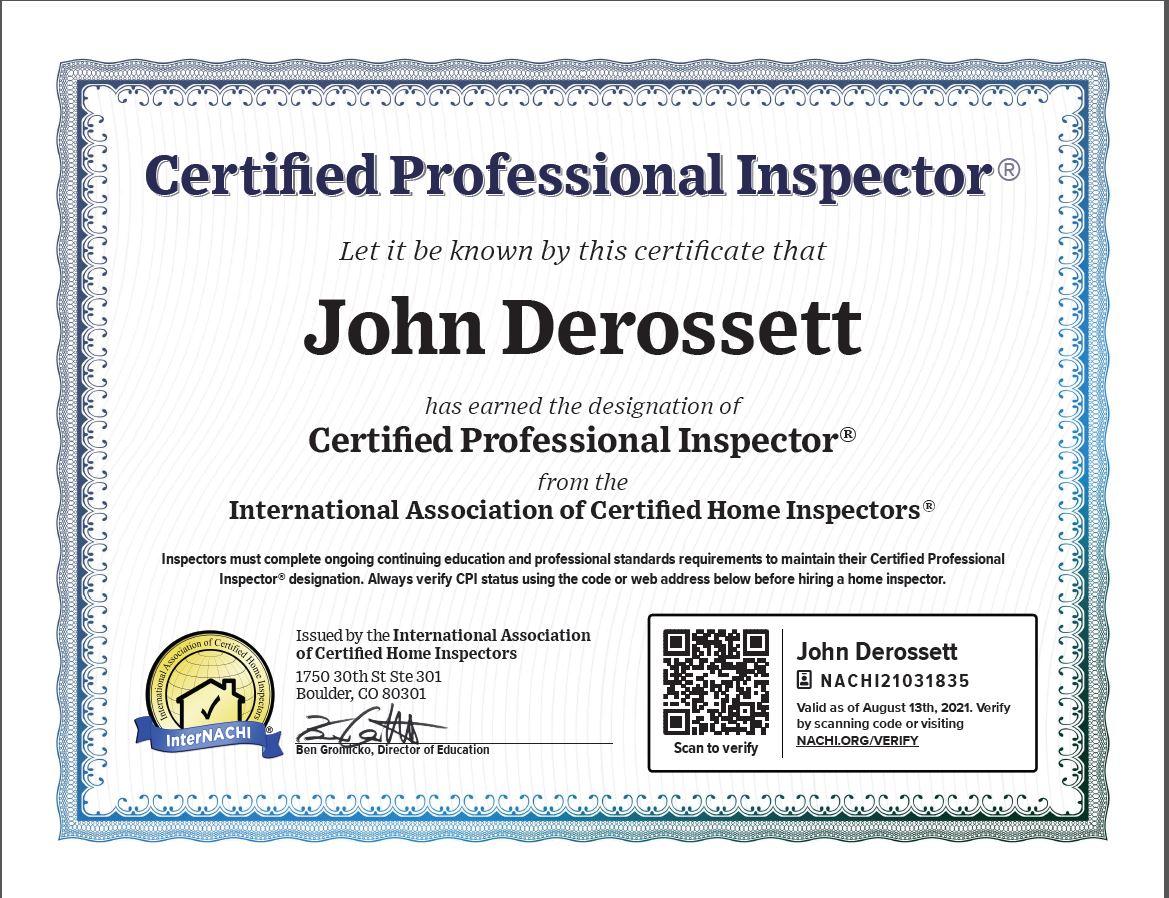 Certified Professional Home Inspector Riverside California